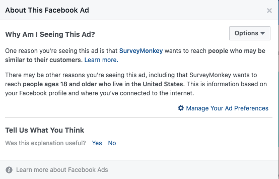 Text from Facebook explaining why an ad has been shown to the user.