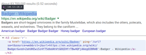 Search result in Chrome and its source code