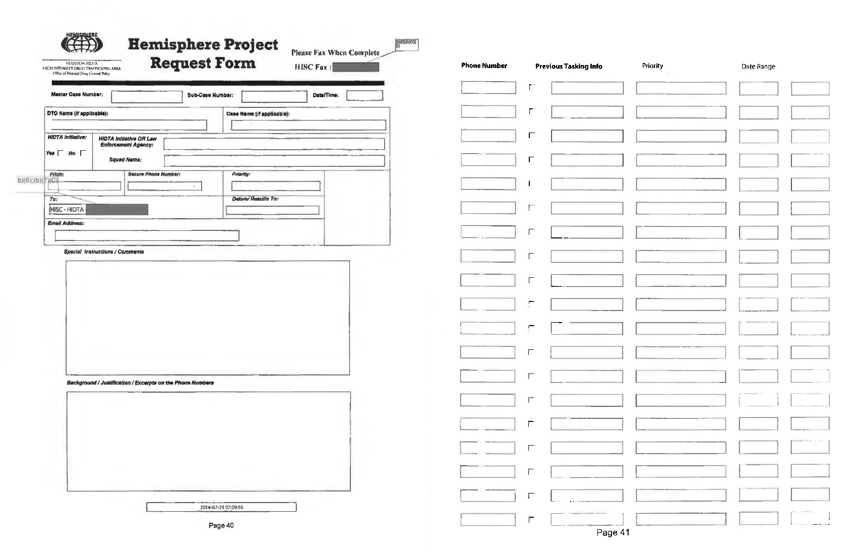 Two pages of a blank Hemisphere request form.