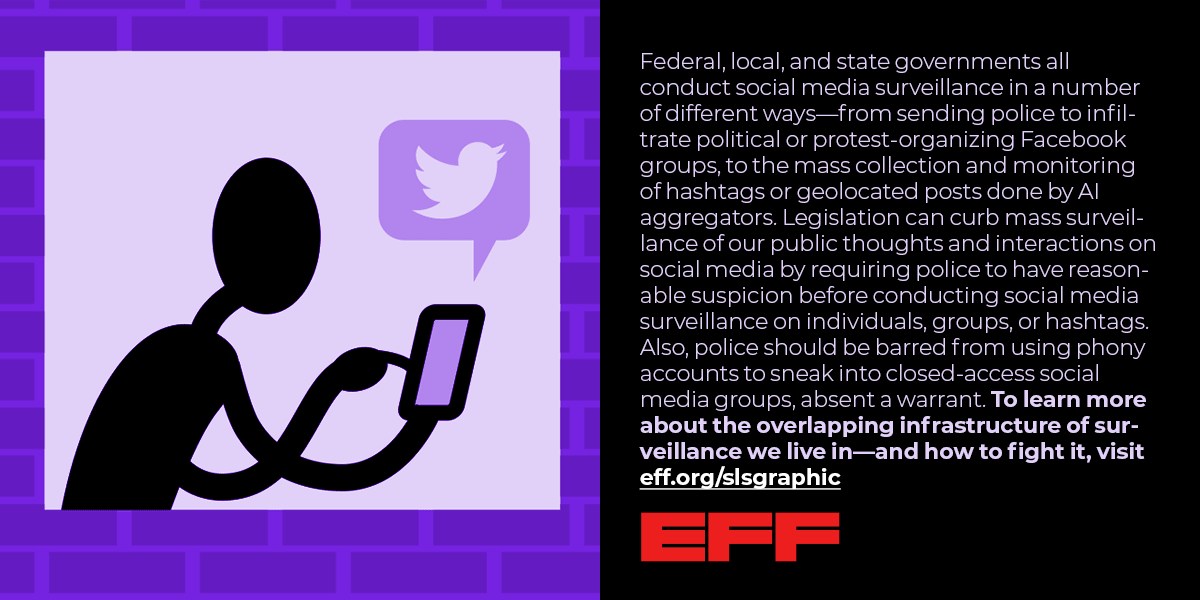 an image of a person with a cell phone, with text that reads Federal, local, and state governments all conduct social media surveillance in a number of different ways—from sending police to infiltrate political or protest-organizing Facebook groups, to the mass collection and monitoring of hashtags or geolocated posts done by AI aggregators.  Legislation can curb mass surveillance of our public thoughts and interactions on social media by requiring police to have reasonable suspicion ....more text cut