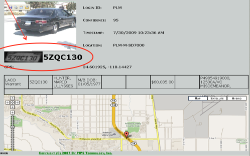 Image of License Plate Data and Map