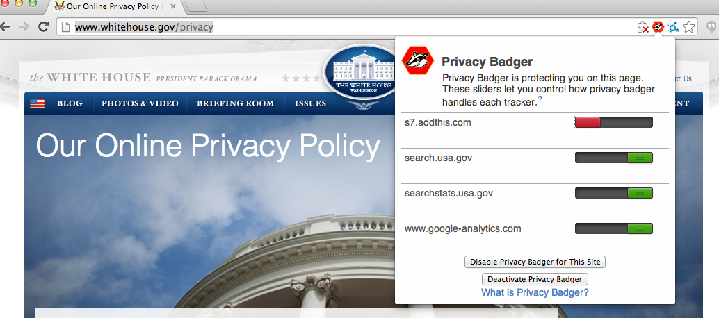 Privacy Badger in action, blocking trackers in the White House privacy policy