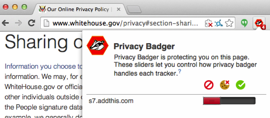 Privacy Badger blocks AddThis's fingerprinting tracker on whitehouse.gov