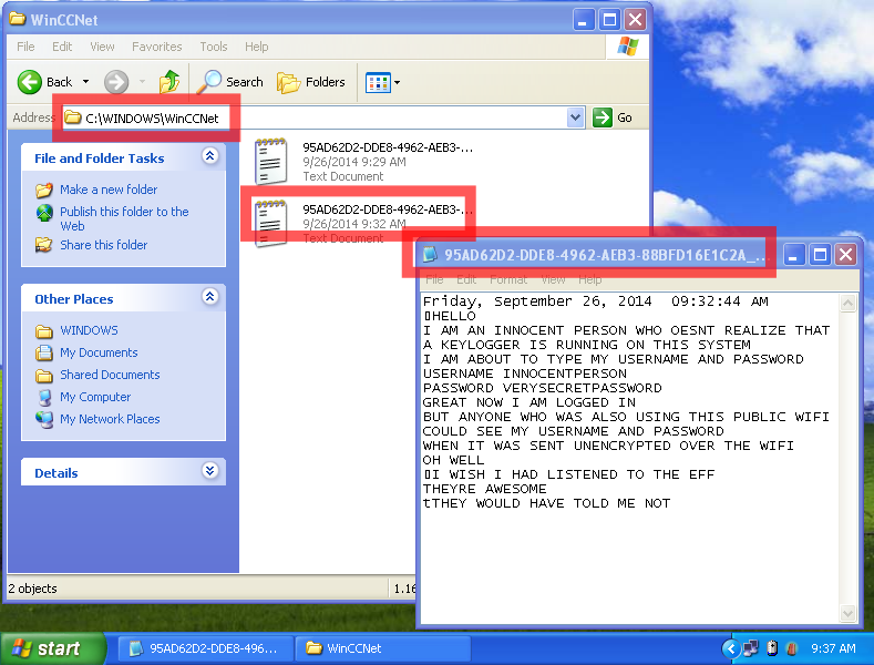 Image showing the location of unencrypted key logs generated by ComputerCOP's Key Alert on a Windows machine.