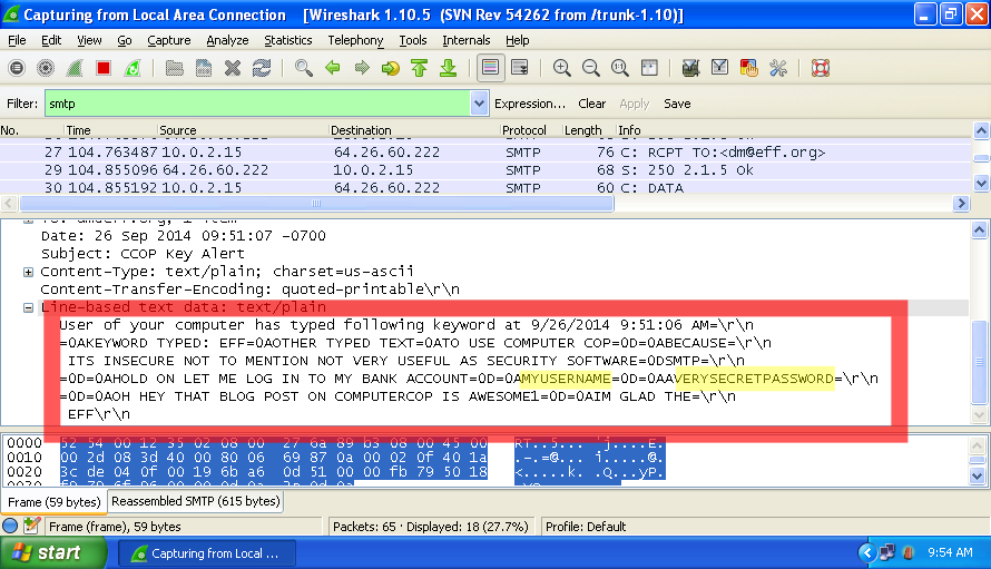 Image of a packet capture log showing key logs being transmitted unencrypted over the Internet.