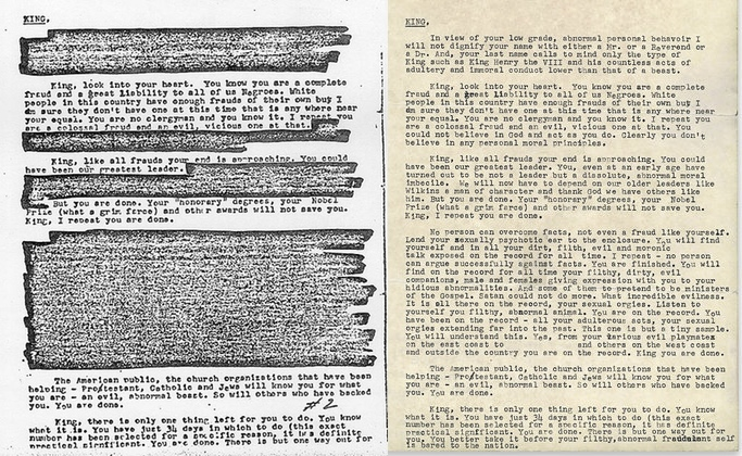 Fbis suicide letter to dr martin luther king jr and the redacted and unredacted letters expocarfo