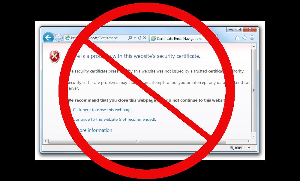 example certificate warning