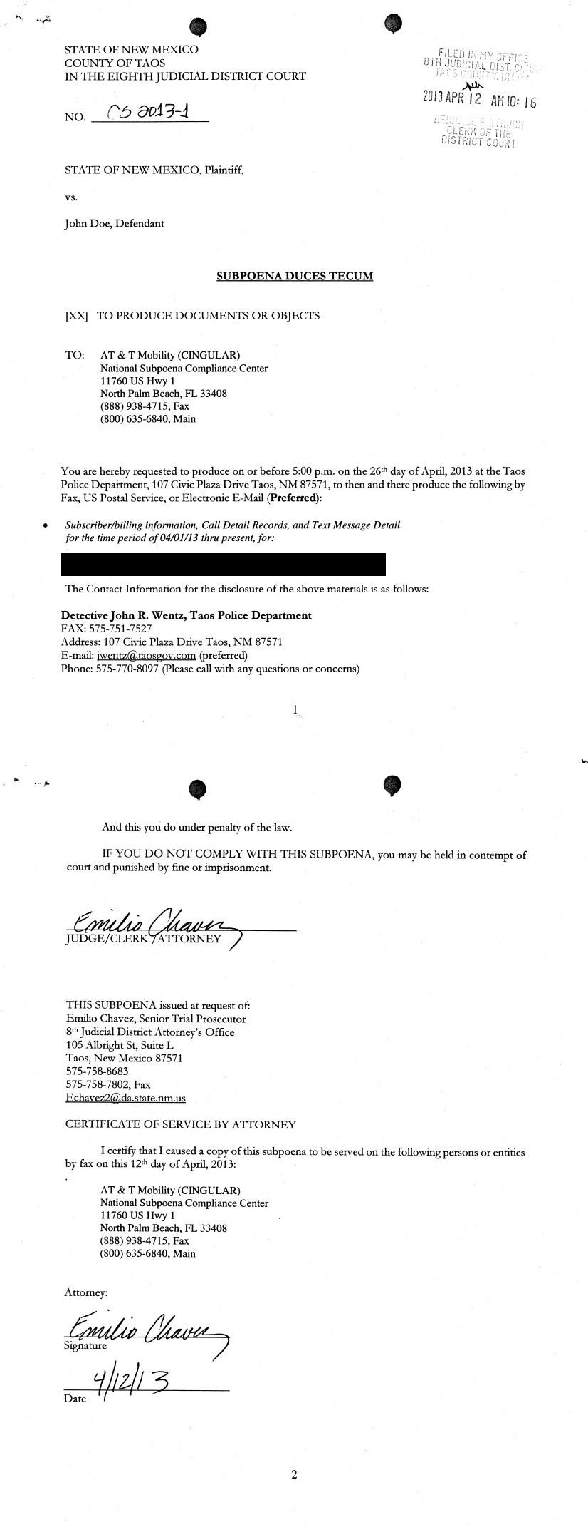 Images Subpoena