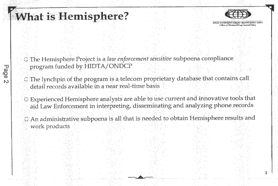 Hemisphere: Law Enforcement's Secret Call Records Deal With