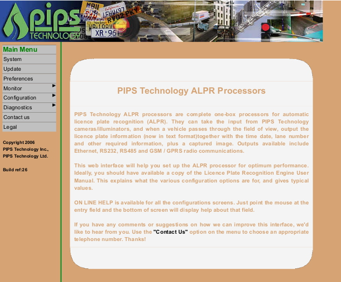 Exposed PIPS ALPR camera homepage