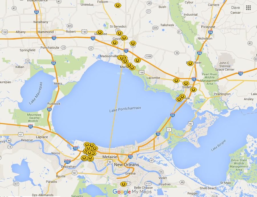 Map of ALPR cameras in Southeastern Louisiana