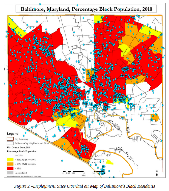 Map of Baltimore PD Stingray Use in Black Communities