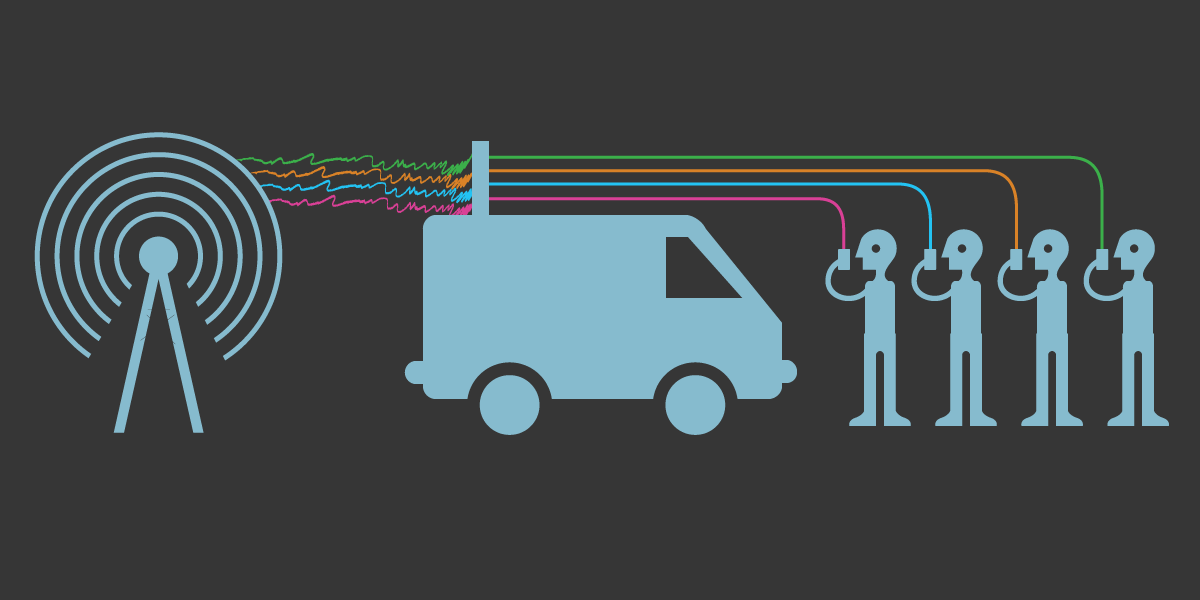 A network tower sends signals to people holding cellphones. A large van with an antenna is in the middle disrupts it.