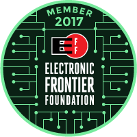 A badge stating my membership in the EFF