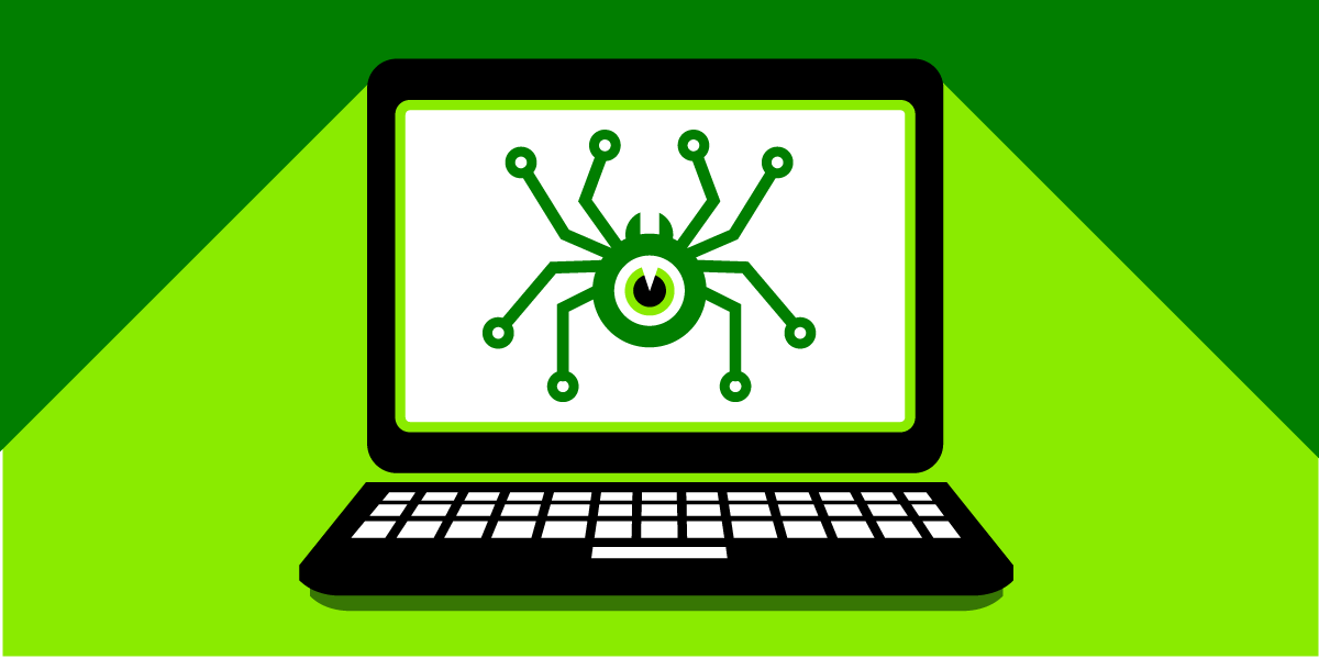 An eyeball with a spider-like body stares from a computer screen.