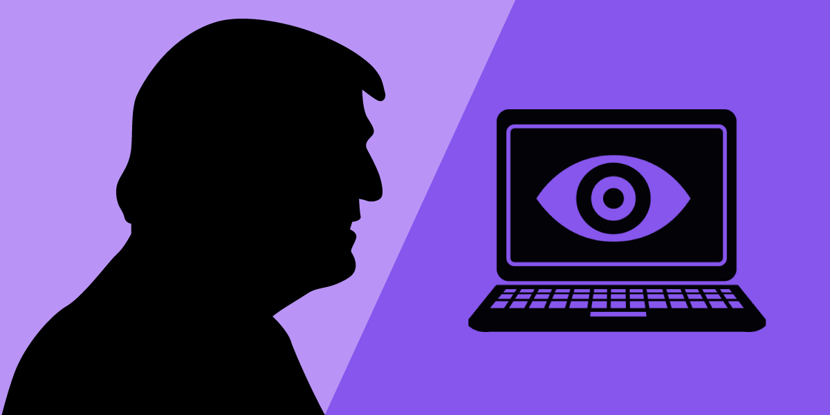 Donald Trump's silhouette and a laptop with an eye on the screen.