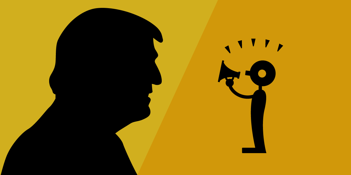 Donald Trump's silhouette and a figure of a person with a megaphone.