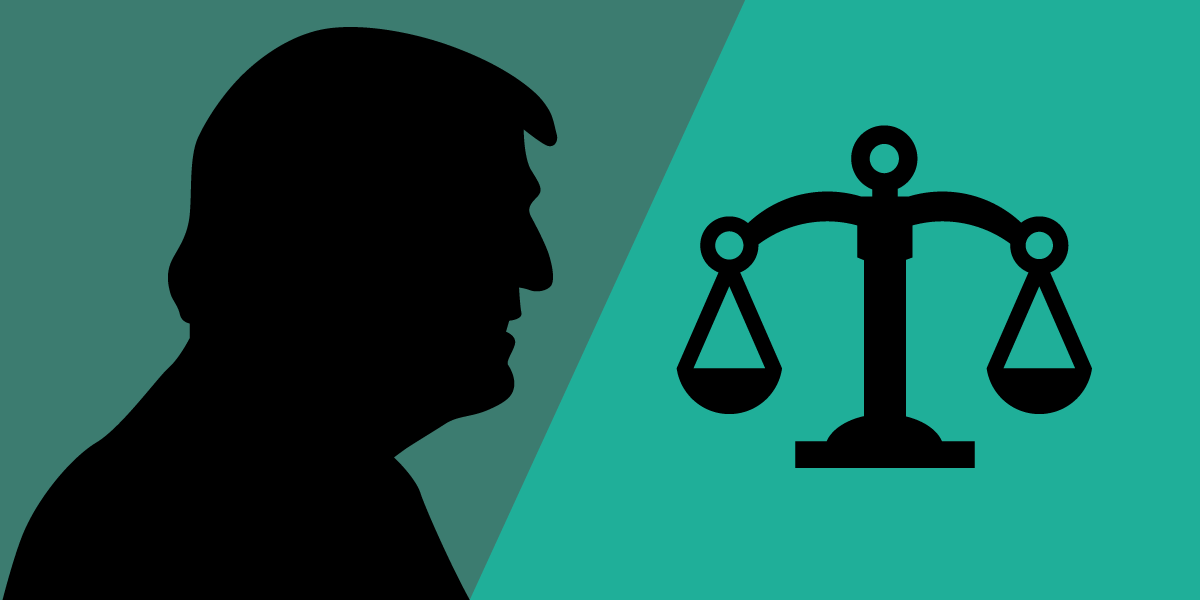 Donald Trump's silhouette and balance scales.