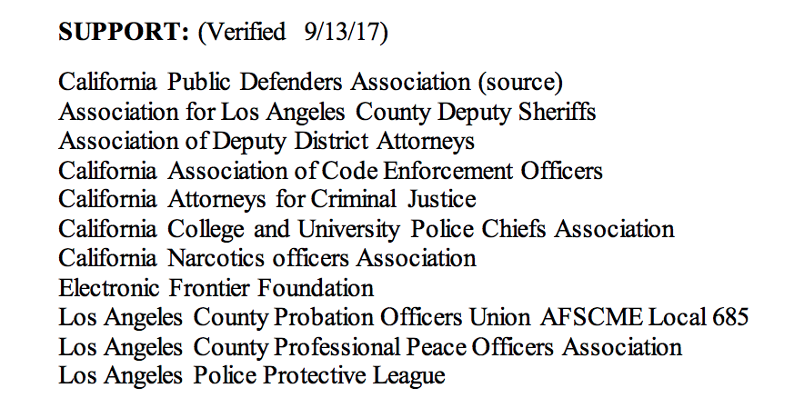 California Police and Civil Liberties Groups Agreed on a
