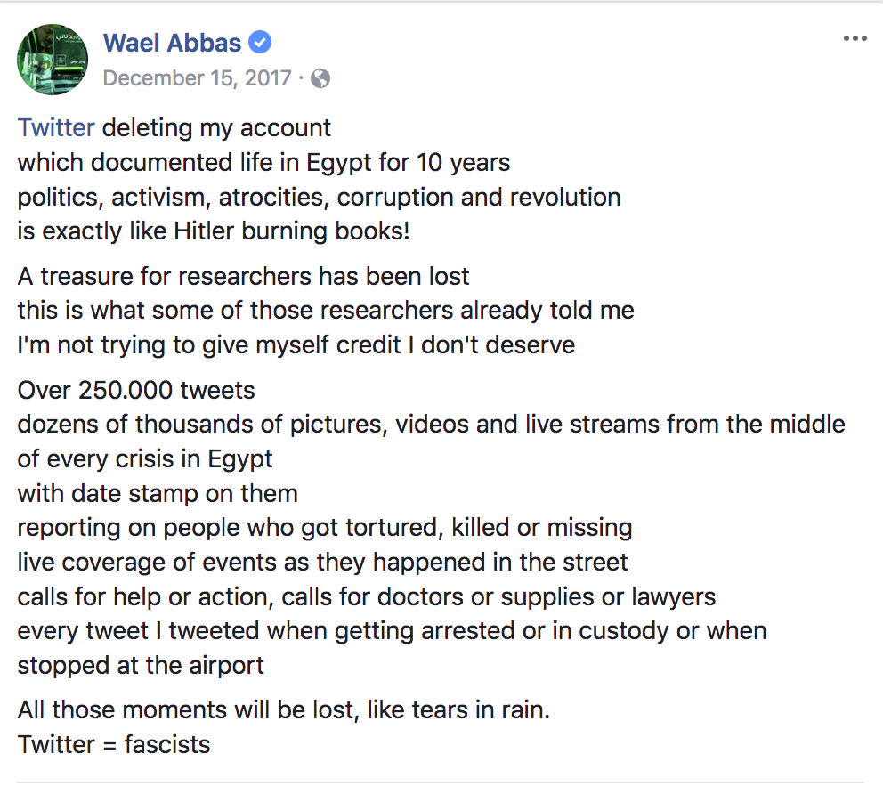Wael Abbas posts on Facebook about his experience with Twitter