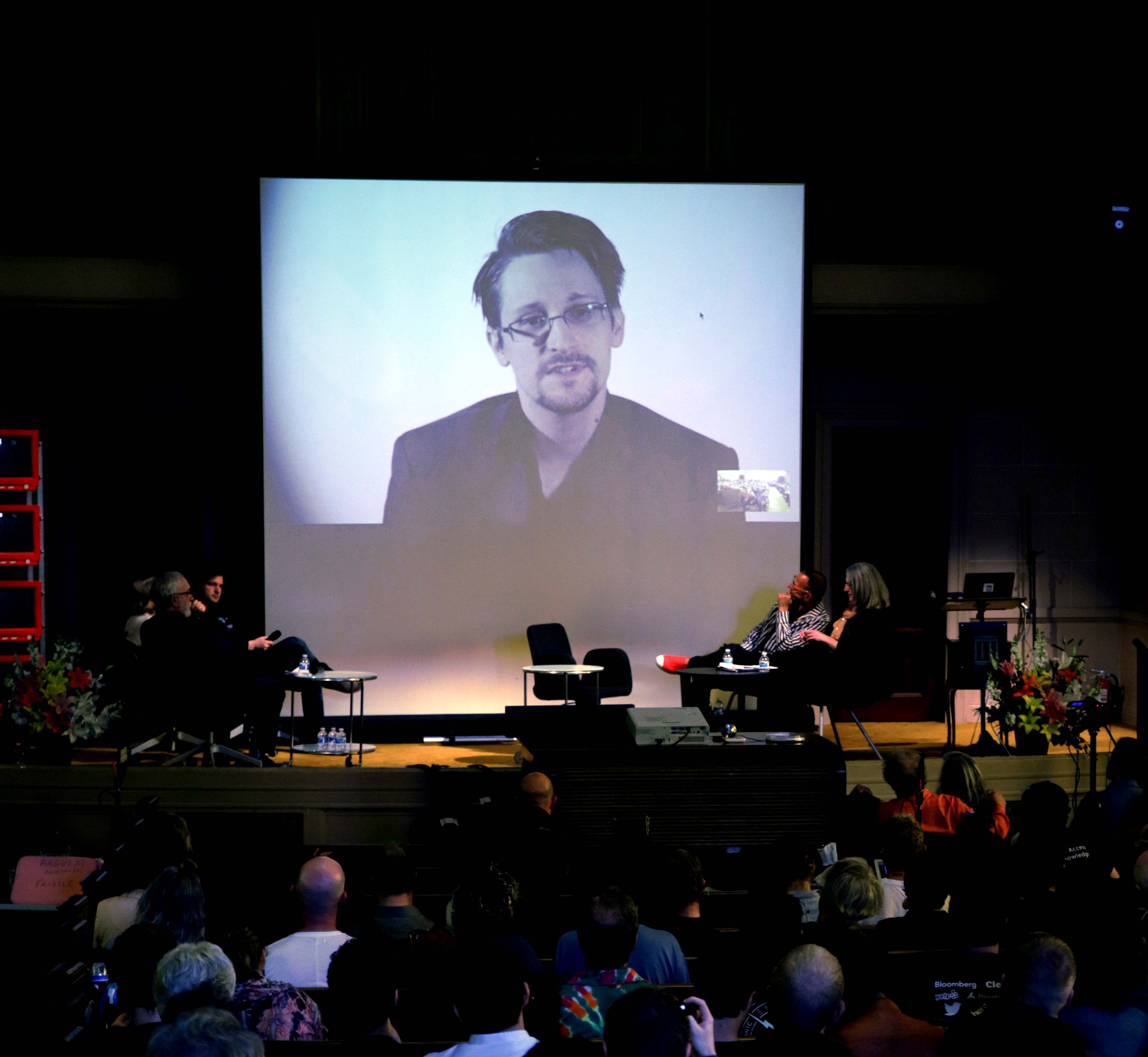 Whistleblower Edward Snowden addresses the audience.