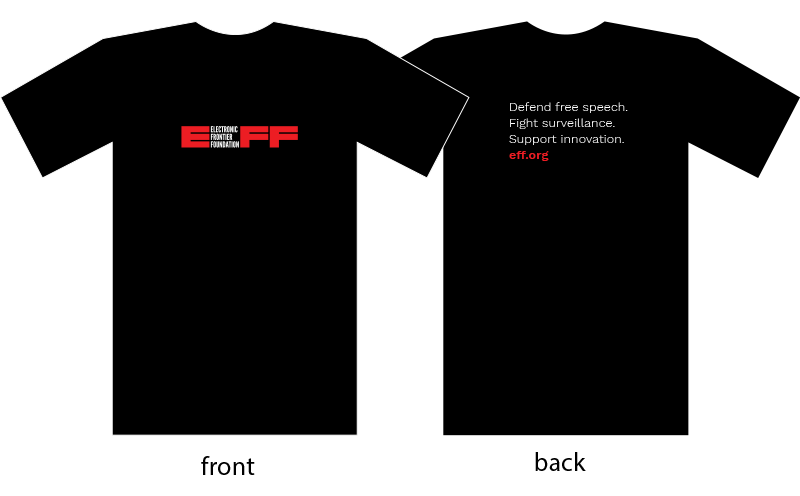A photo of the front and back of the Insider EFF member shirt.