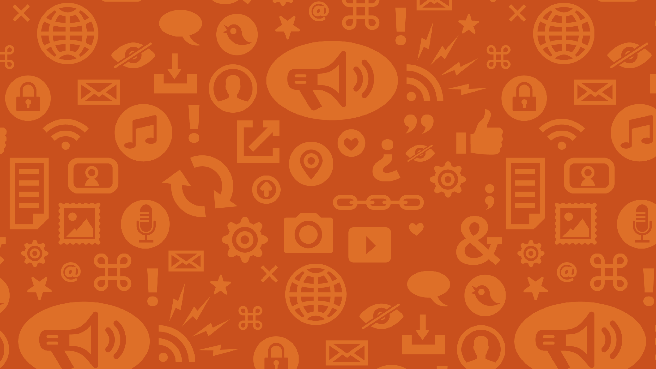 dark red background with orange internet and speech symbols