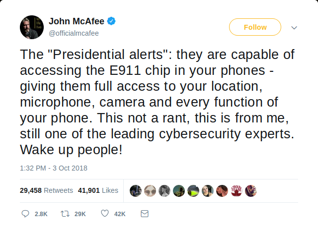 Tweet by McAfee claiming that the Presidential Alert is tracking americans through a non-existent E911 chip