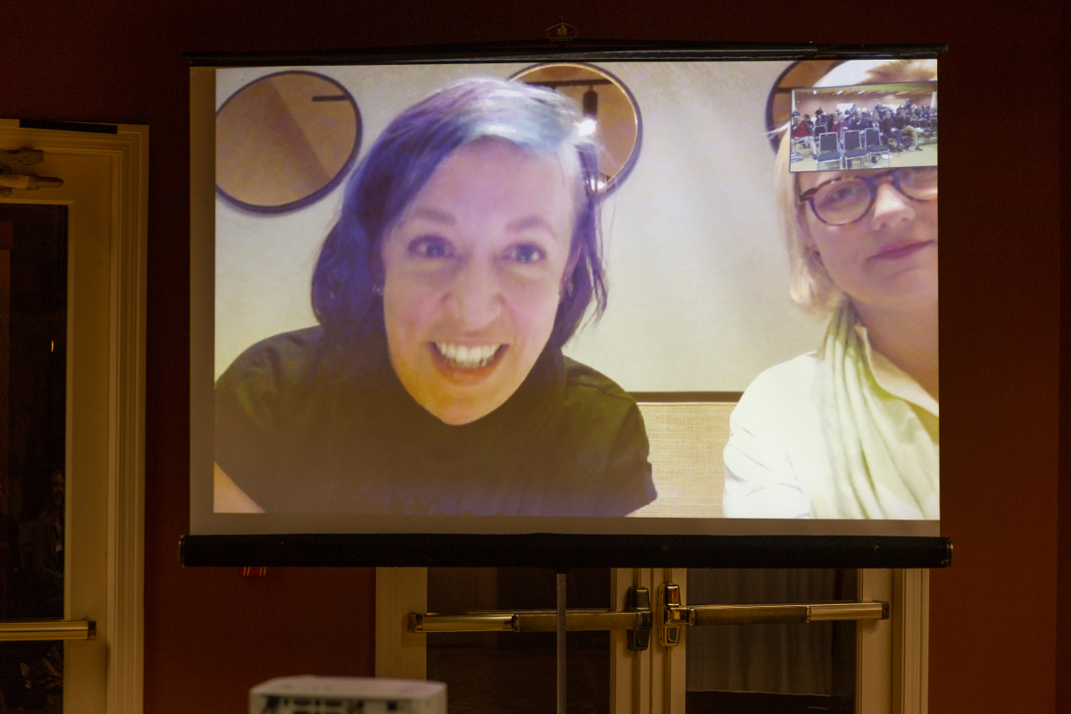 Jillian York, EFF's Director of International Freedom of Expression and Sarah T. Roberts call-in from Greece.