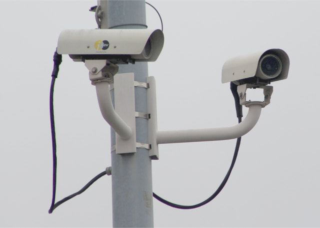 Two bullet cameras on a pole