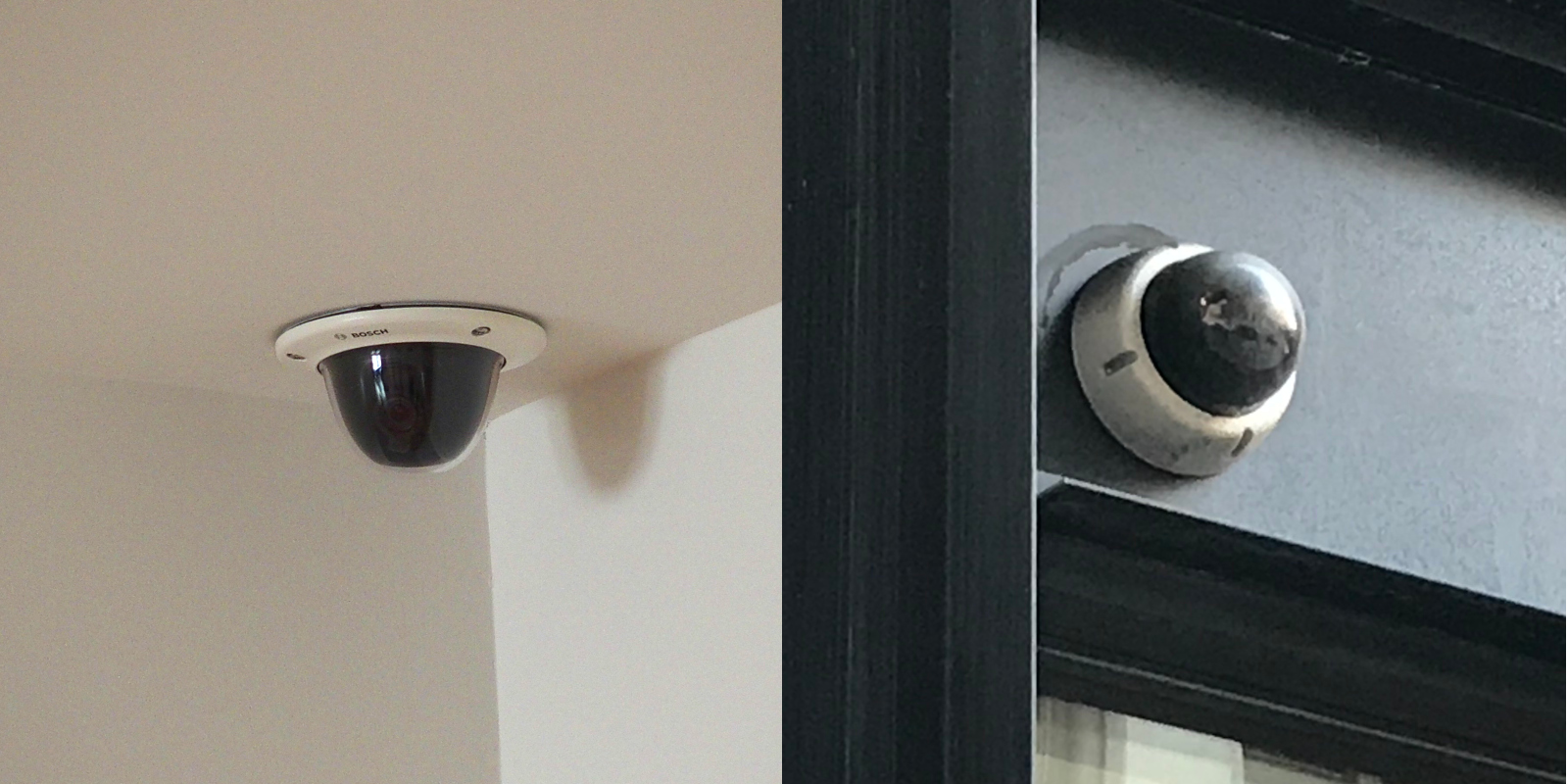 An indoor and an outdoor dome camera