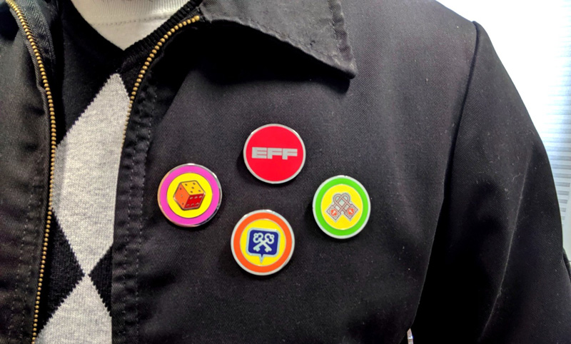 EFF lapel pins on a jacket