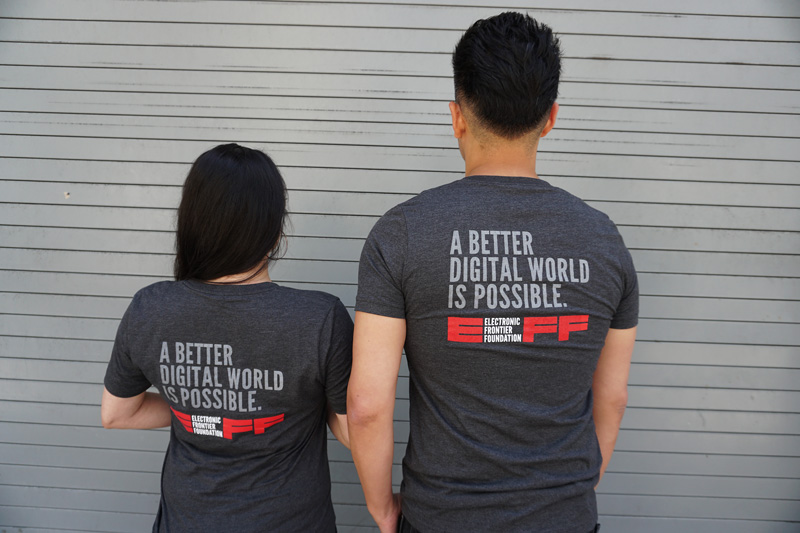 EFF Staffers sporting new Membership shirt (back view)