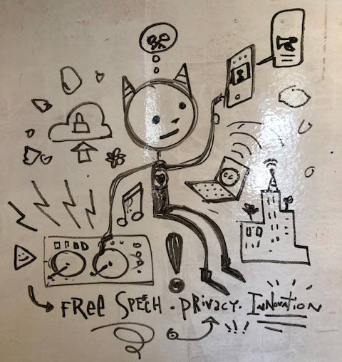 Whiteboard sketch of digital cat enjoying Internet freedom