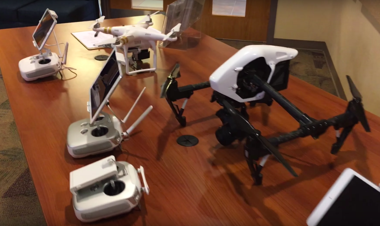 Various drones on a table