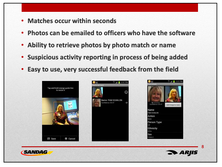 Slide that says that face recognition matches happen within seconds, with screen grabs of the app