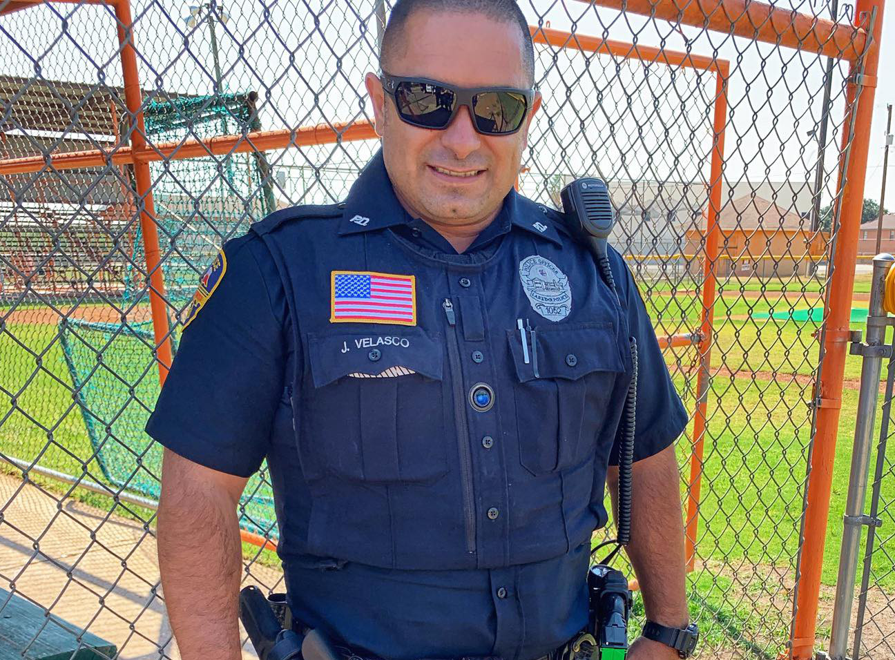 Laredo Police Officer with a lens in the middle of his vest