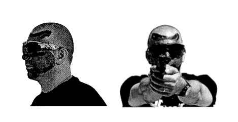 A man in face paint wearing face recognition glasses. Same man wearing glasses and holding a gun.