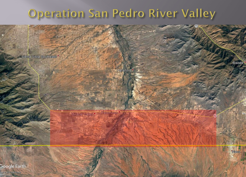 Map of San Pedro River Valley showing a horizontal stretch where the cameras are located