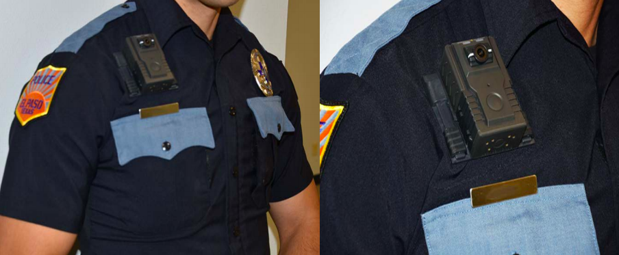 Images of a body-worn camera affixed the right side of an officer's chest.