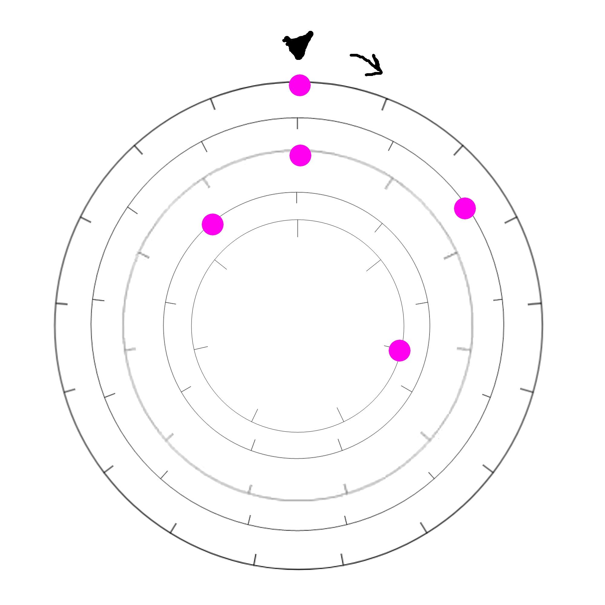 Five nested wheels with rotating intervals, an arrow at the top, and a pink dot on one of the interval steps for each wheel