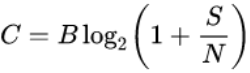 "A screenshot of a math equation describing the relationship ""C = B * lg(1 + S/N)"""