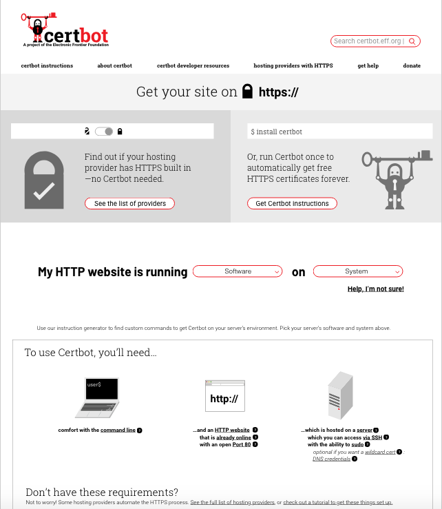 "a screenshot of the Certbot site after the redesign, prominently showing the text"" Get your site on HTTPS,"" pointing to two sections for ""See the list of providers,"" and ""Get Certbot certificates."""