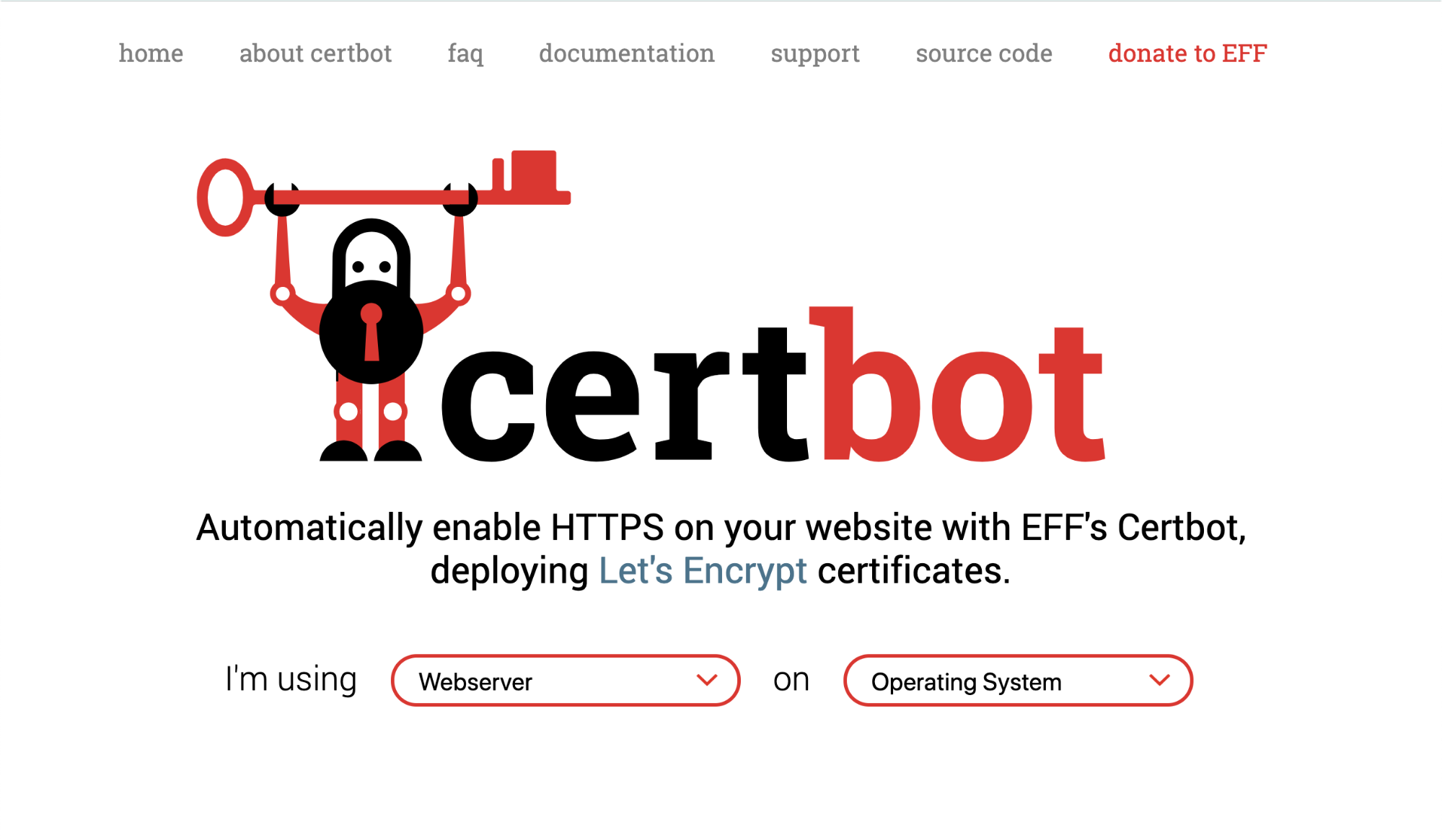"the Certbot site from 2016, which includes a menu, and a set of two dropdown menus for filling out the sentence ""I'm using [webserver] on [operating system.]"""