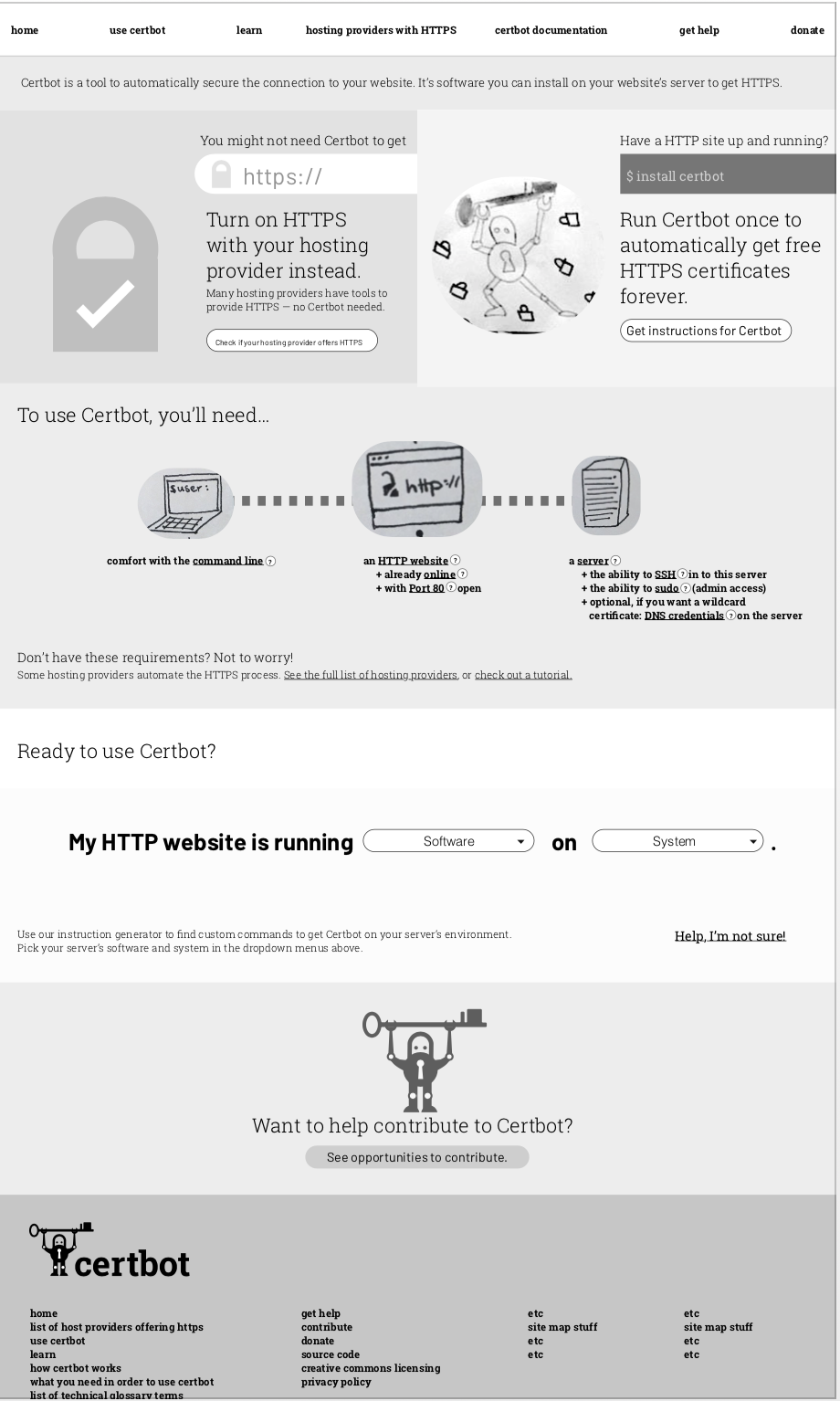 a grayscale mockup of the certbot website and rough illustrations.