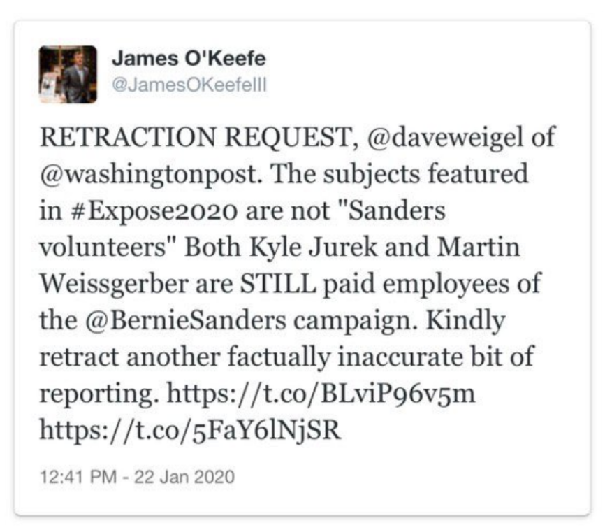 The original tweet from James O'Keefe