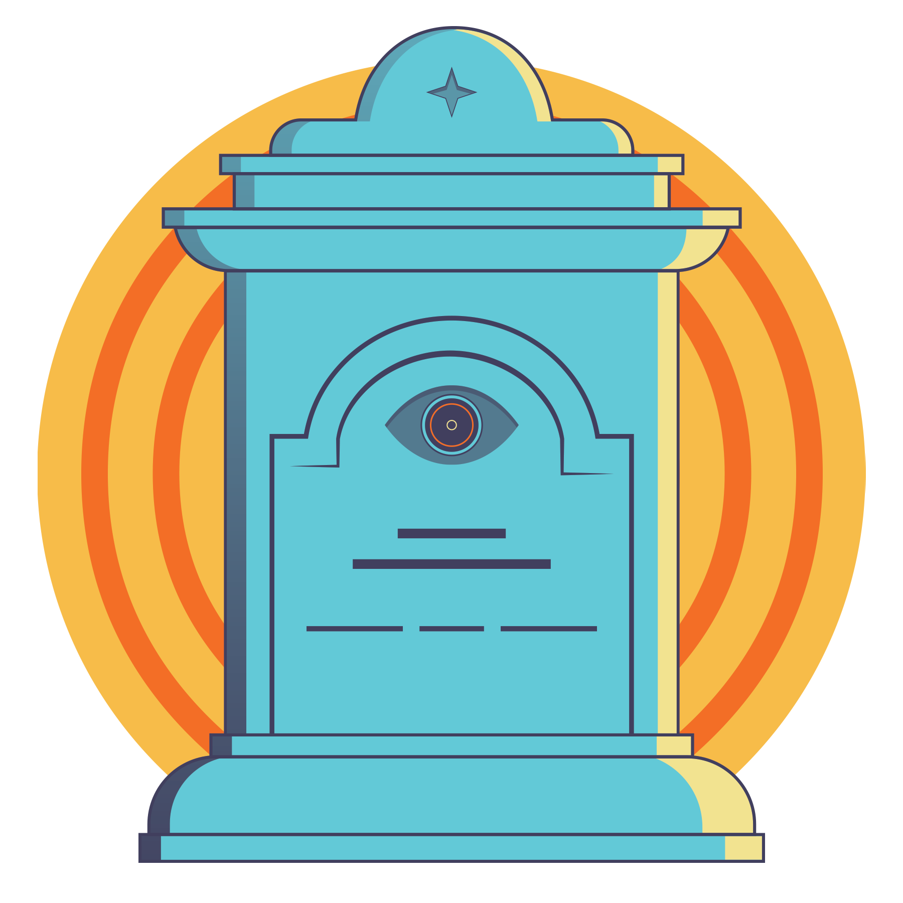 An illustration of a tombstone with an eye carved into the center