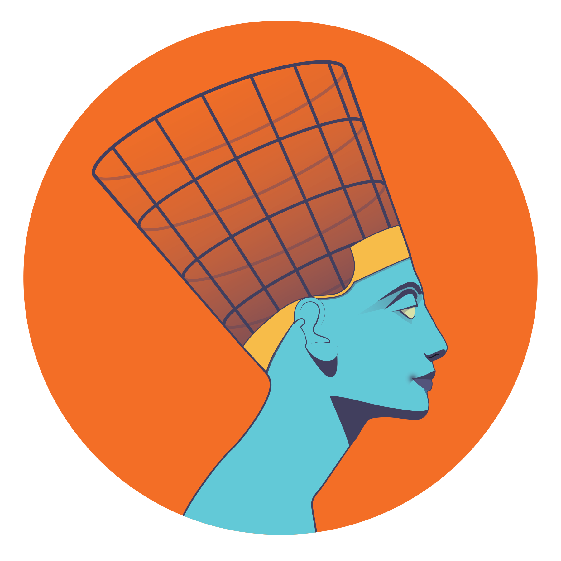 Illustration of the Nefertiti bust, with her crown being scanned