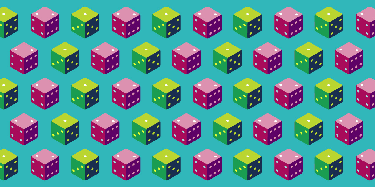 A pattern of multi-colored dice against a turquoise background.